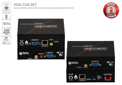 VGA and Audio Extender over CAT5 with RGB Delay Control