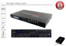 HDMI HDBaseT Lite Matrix Switch 4X4 CAT5e/6/7, 3D Support and Bi-Directional IR with Receivers