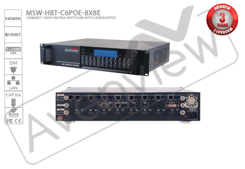 HDBaseT Modular Matrix Switch 8x8 with IR/RS232/POE