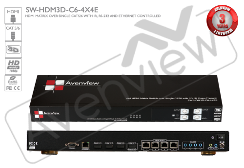 4X4 HDMI 3D Matrix Switcher Single CAT6, 4 Receivers included