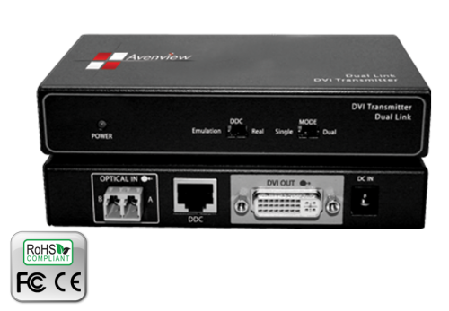 Dual Link DVI Extender over 2 LC Fiber Cable, HDCP Compliant