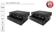 HDMI HDBaseT CAT5/6/7 Extender Set with Bi-directional IR, RS-232 and PoC