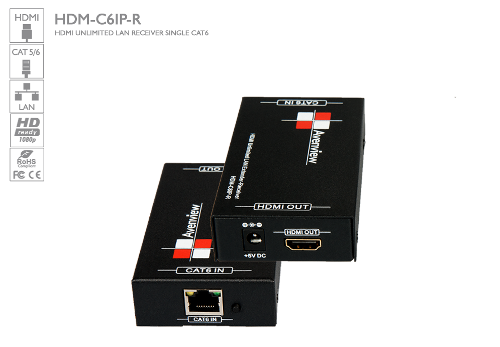 HDMI UNLIMITED LAN RECEIVER Over Single CAT6 [HDM-C6IP-R] : Avenview
